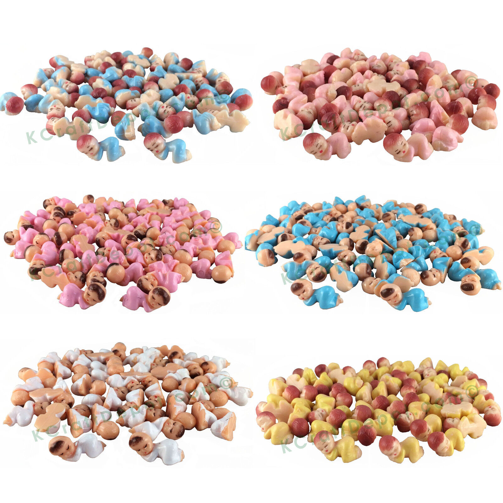 """48 Pcs Tiny 1"""" Plastic Sleeping Baby Shower Favor Game Party"""