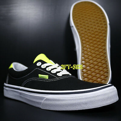 VANS ERA 59 NEON LEATHER BLACK NEON MEN'S SKATE SHOES // S89137.106