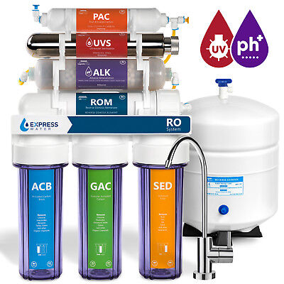 11-Stage Reverse Osmosis Water Filtration System UV Ultraviolet Alkaline Clear ()