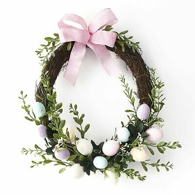 Lighted Velvet Easter Wreath with Decorative Eggs - Holiday Home Decor ()