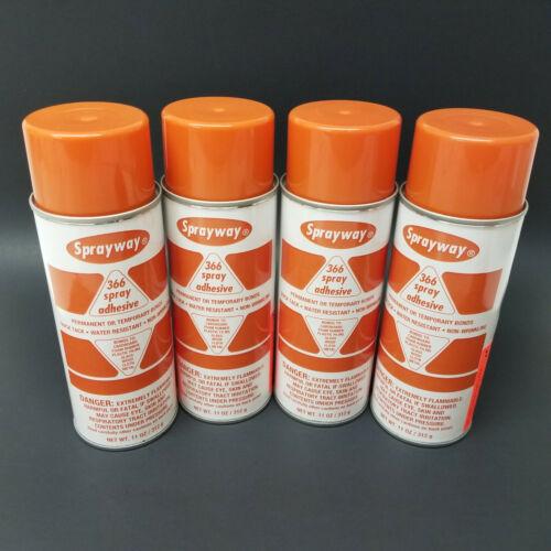 Sprayway SW366 Spray Adhesive 366, 11 oz spray cans, QTY:4