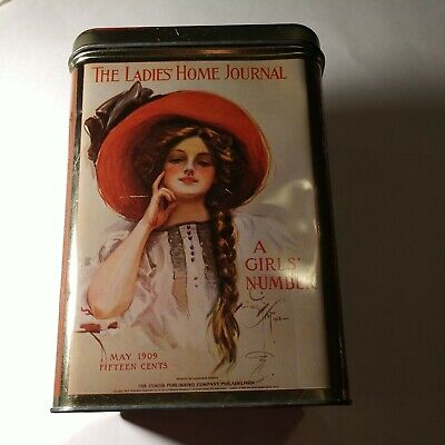 Vintage The Ladies Home Journal Girls Number Tin Canister Cheinco 1909 Artwork