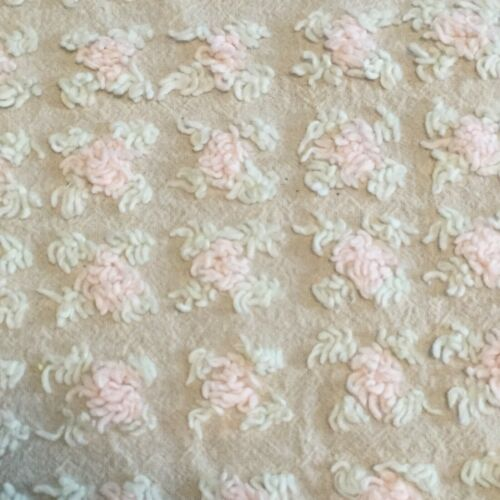 """IFW~Vintage Chenille Bedspread Fabric Piece ~ 35"""" x 47""""~Pale Pink Roses"""