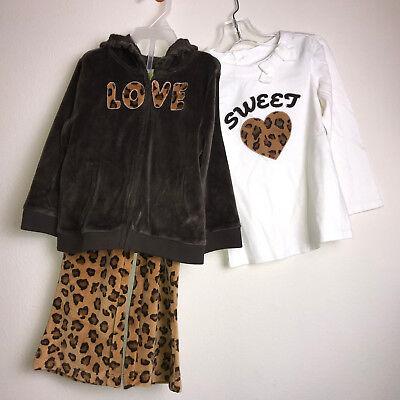 Leopard Heart Pants - Crazy 8 Sweet Heart Leopard Print 3pc Set Shirt Pant Hoodie Velour Jacket Sz 2