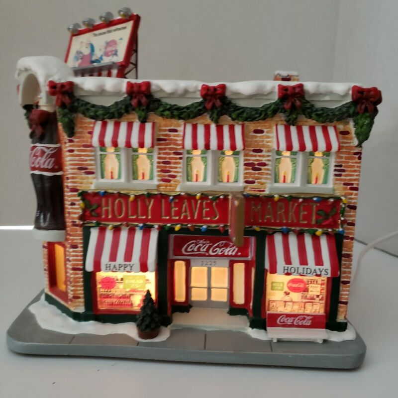 Coca Cola Holiday Hawthorne Village Lighted Holly Leaves Market Christmas Coke