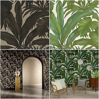 VERSACE GIUNGLA PALM LEAVES LUXURY METALLIC WALLPAPER - BLACK/GOLD & GREEN/CREAM