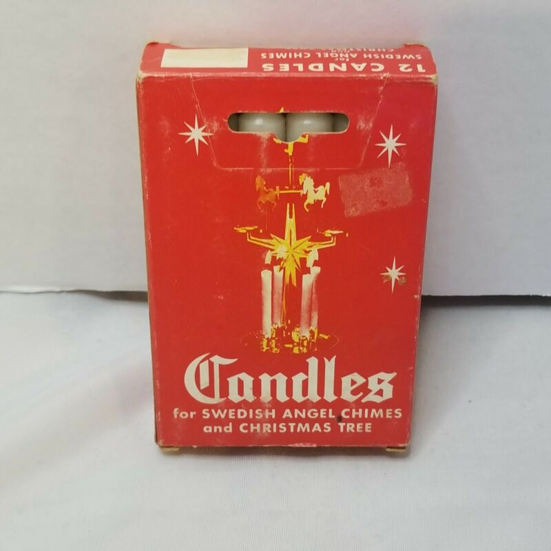 """Vintage Box of 12 White 4"""" Candles for Swedish Angel Chimes & Christmas Trees"""