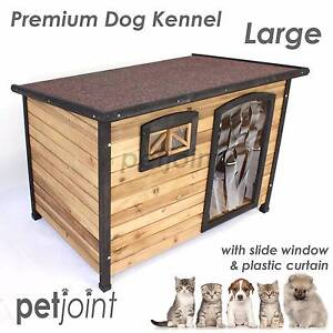 Dog Timber House Wooden Kennel Wood Extra Large Pet 2 Bowls Campbellfield Hume Area Preview