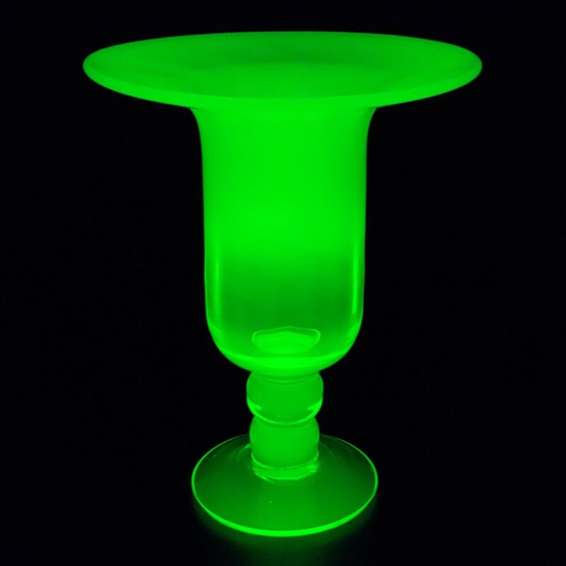 Gibson Opalescent Vaseline Glass Wide Rim Footed Vase - Signed - Topaz Uranium