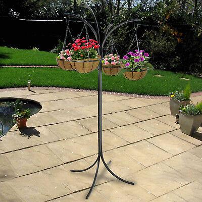 (4-Arm Tree w/ Hanging Baskets Tree Flower Pot Yard Outdoor Decor Planter Stand)