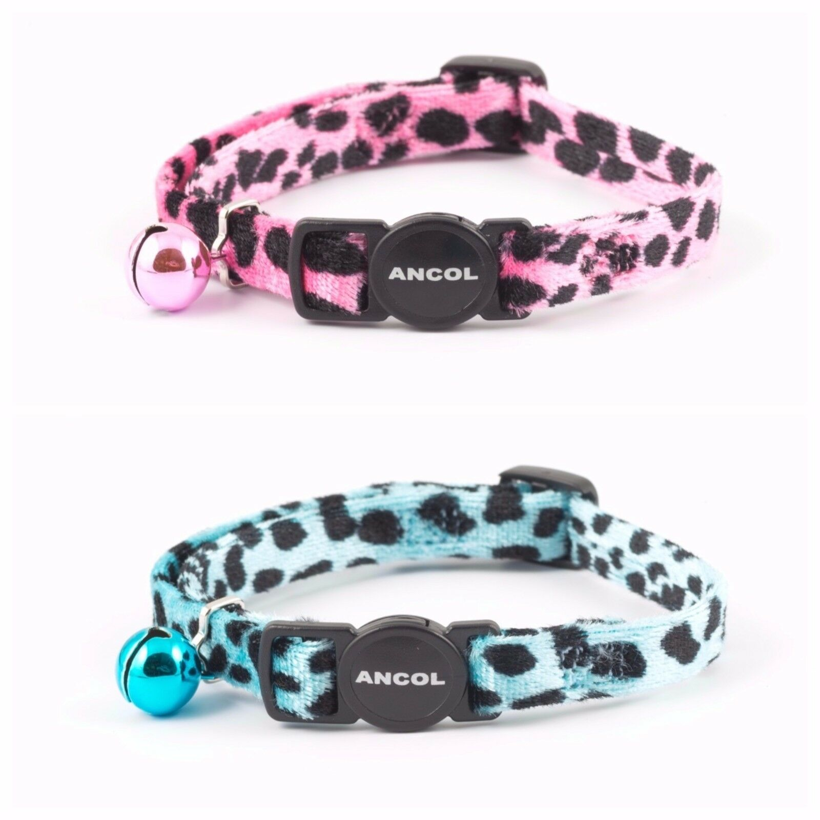 ANCOL VELVET LEOPARD PRINT CAT COLLAR with or without Engraved ID Tag