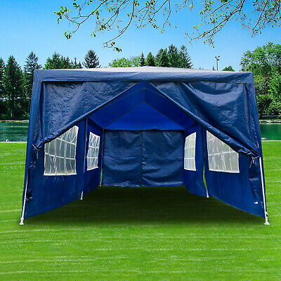 3x6m Heavy Duty Gazebo Waterproof Marquee Canopy Wedding Garden Party Tent Blue