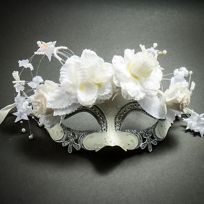(White Silver Women's Masquerade Mask Costume Prom Party Mardi Gras Bridal Mask)