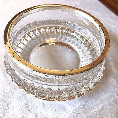 VTG Mid-Century heavy Cut Clear Crystal round bowl silver plate metal rim  Mid Rim Plate