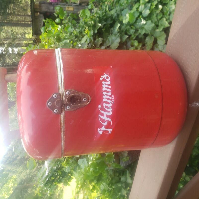 Vintage, red HAMMS beer cooler.