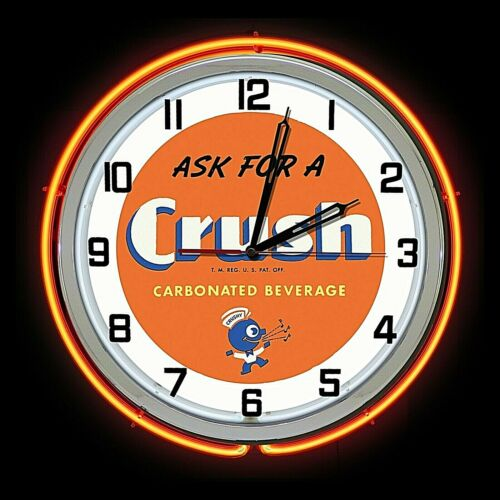 "19"" Ask for Orange Crush Soda Sign Orange Double Neon Clock Man Cave Garage Pop"