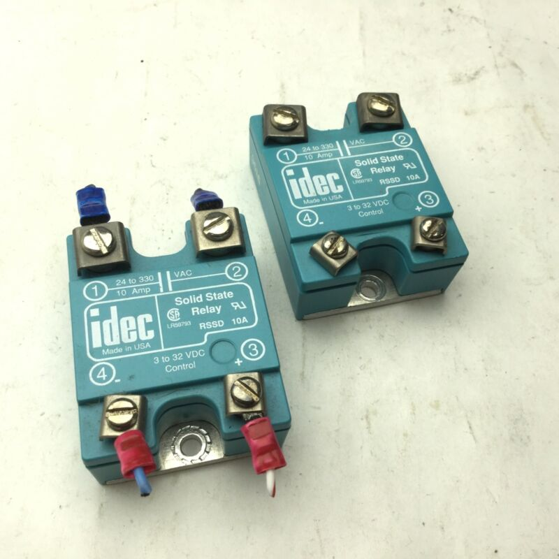 Lot of 2 IDEC RSSD 10A Solid State Relay 3-32VDC, 24-330VAC 10A