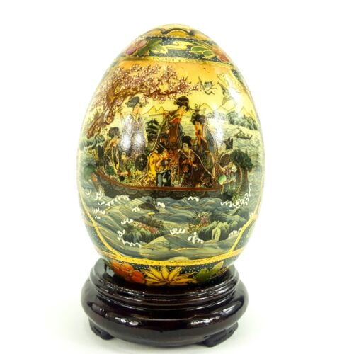 """Satsuma Hand Painted 5"""" Porcelain Egg Boat Scene Gold w/ Wooden Display Stand"""