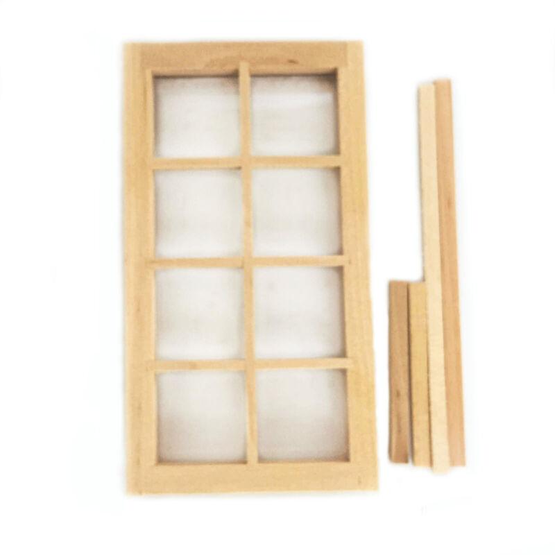 Dollhouse Furniture Wooden 8 Pane Window 1:12 Miniature DIY Accessories