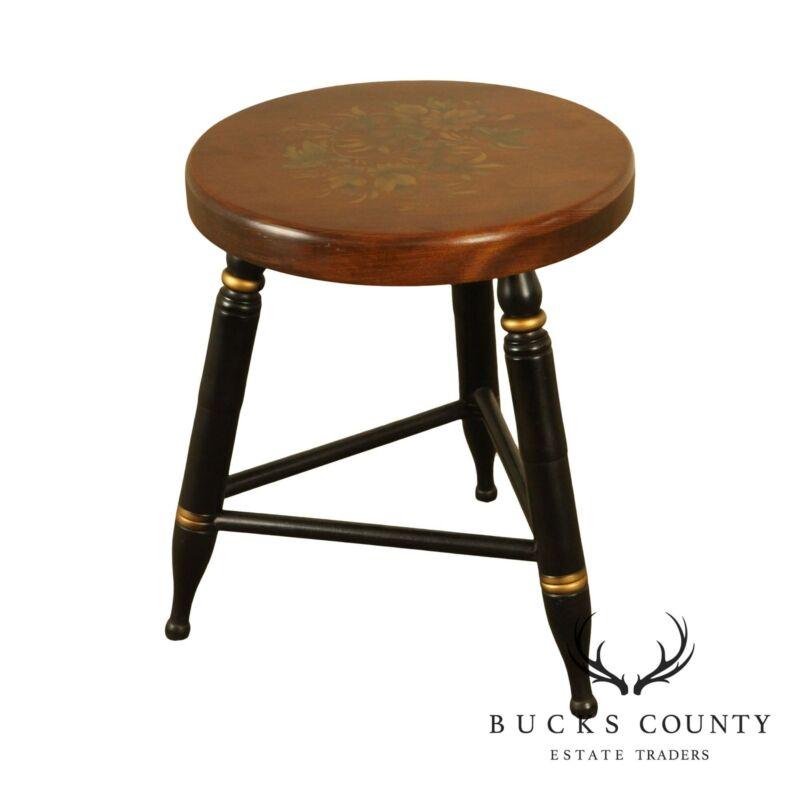 Hitchcock Vintage Round Seat 3 Leg Stool