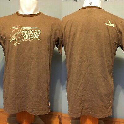 QuickSilver The Pelican Saloon Ringer T Shirt Size M VGUC Brown Made in USA