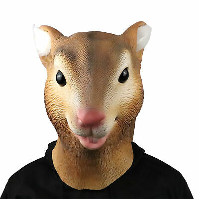 Realistic Squirrel Full Head Mask Animal Halloween Latex Easter Party