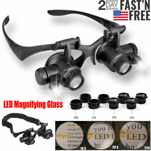 NEW Double Eye Jewelry Watch Repair Magnifier Loupe Glasses w/ LED Light 8 Lens