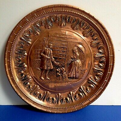 Lovely Antique Copper Hanging Wall Plaque Lady & Gent With Dogs