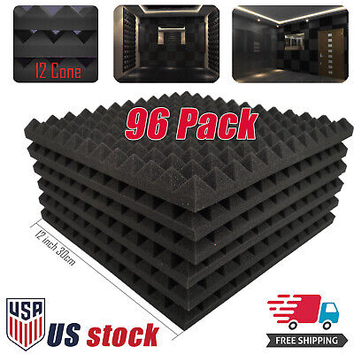 96 Pack Acoustic Panels Studio Soundproofing Egg Crate Foam Wall Wedge Tiles 1""