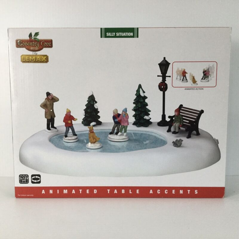 Lemax Christmas Village Collection Ice Skating Silly Situation #54922 2015 NIB
