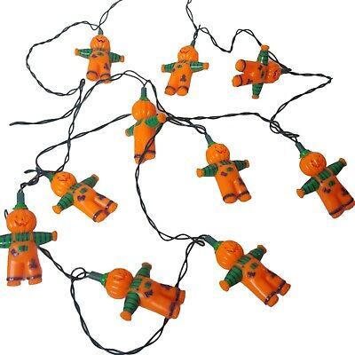 "Vintage Halloween Blow Mold Pumpkinhead Scarecrow 10 String Lights Set 4"""