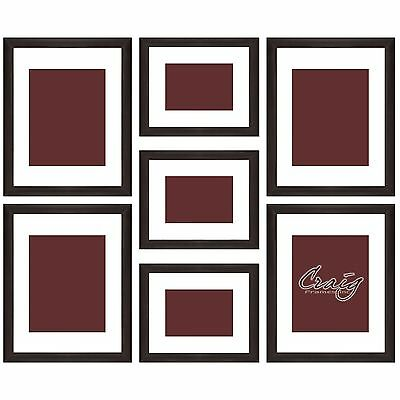 Craig Frames 7 Piece Brown Gallery Wall Frame Set with Glass & White Matting