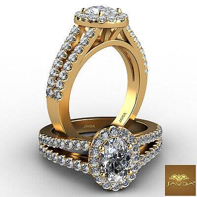 Halo Split Shank Oval Shape Diamond Engagement French Pave Ring GIA I SI1 1.47Ct