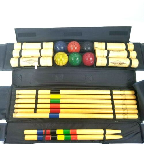 Vintage Classic Sports 6 Player Wooden Lawn Croquet Set With Travel Case