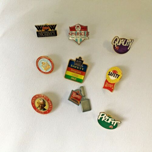 Wendy's Fast Food Collector Pin Lot Of 9 David Thomas 2008 Safety Burger Flipper