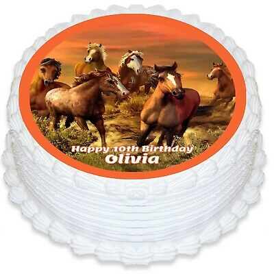 Horse Themed Round Edible Icing Cake Topper - PRE-CUT - Horse Themed Cakes