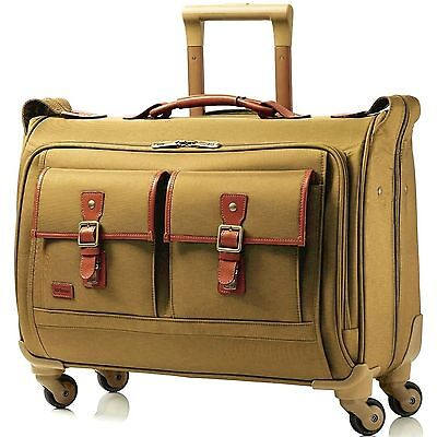 Hartmann Hudson Belting Carry On Spinner Garment Bag 56663 1473 Khaki $730 NWT