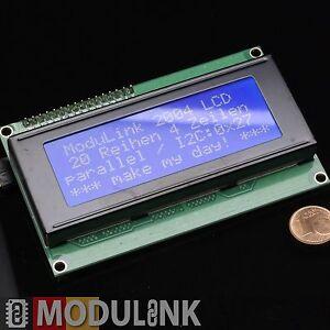 LCD Display 2004 BLAU I2C GELÖTET 20x4 Zeichen HD44780 Arduino Raspberry Pi *D16