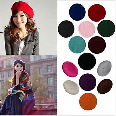 Women Sweet Solid Warm Wool Winter Beret French Artist Beanie Hat Ski Cap Hat - French Artist Beret