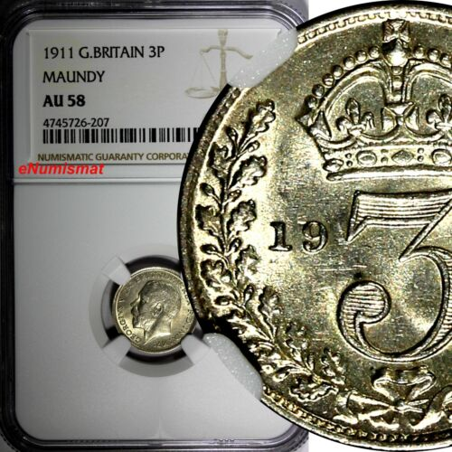 GREAT BRITAIN George V Silver 1911 3 Pence MAUNDY NGC AU58 1st Year Type KM# 813