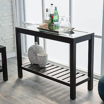 Entryway Table Console Sofa Accent Storage Shelf Hallway Furniture Wood Black