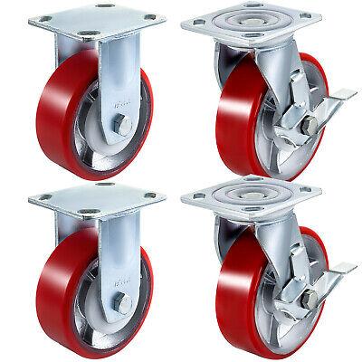 4 Pack 6 X 2 Swivel Caster Polyurethane On Steel Wheel W Brake 2 Rigid 2