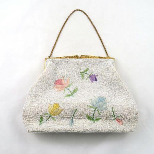 Vintage Elsie Tu Hong Kong Beaded Bag Flowers
