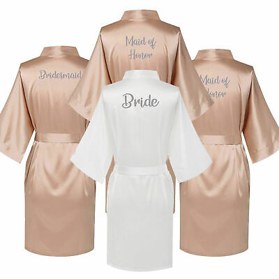 Champagne Personalised Bride Wedding Satin Kimono Robe Bridesmaid Mother Gown - Personalized Wedding Robes