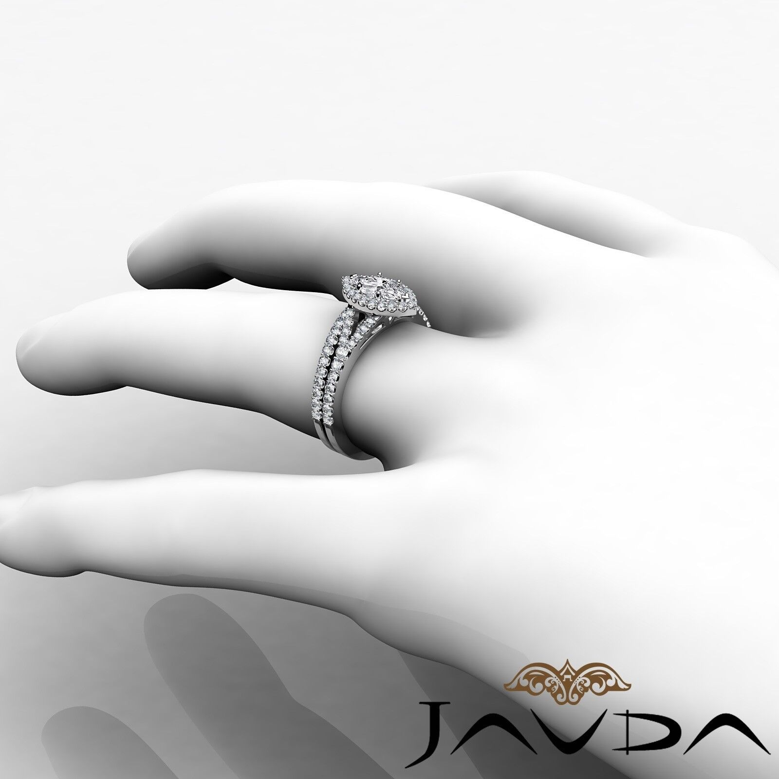2.02ctw Halo Bridal Set Split Shank Marquise Diamond Engagement Ring GIA F-SI1 5