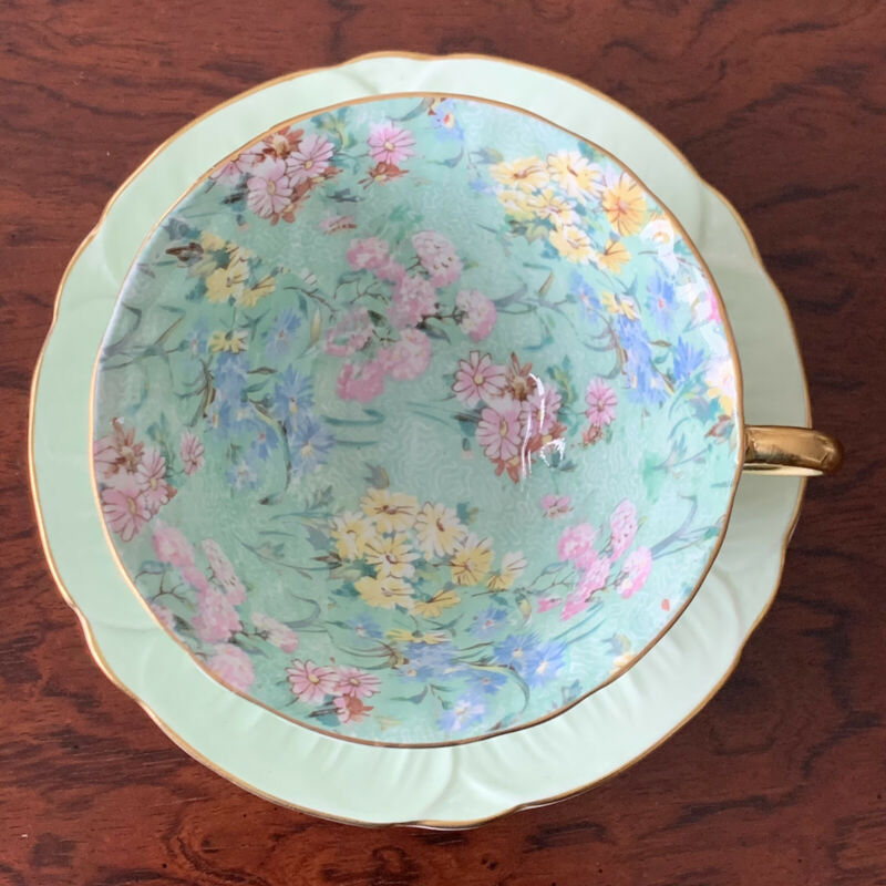 "Vintage Shelley Fine Bone China England ""Oleander"" Green Chintz Teacup & Saucer"