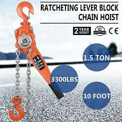 Chain Lever Hoist Block Ratchet Lift 1.5 Ton 3000lb Capacity Tool