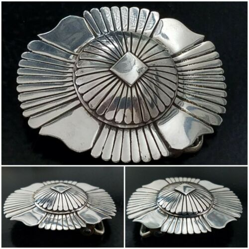 Navajo EDDY CHACO Vintage 70's Sterling Silver Domed Sunburst Belt Buckle (Rare)
