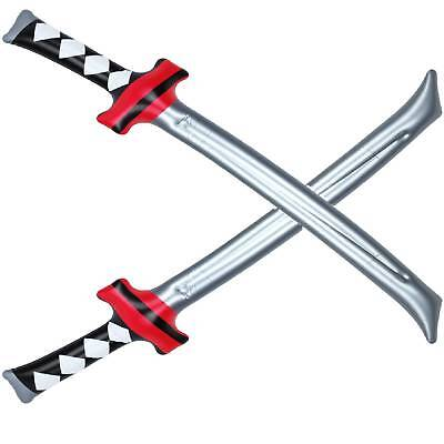 2 aufblasbare Samurai Schwerter Ninja Säbel Kostümzubehör Fasching - Aufblasbare Ninja Kostüm