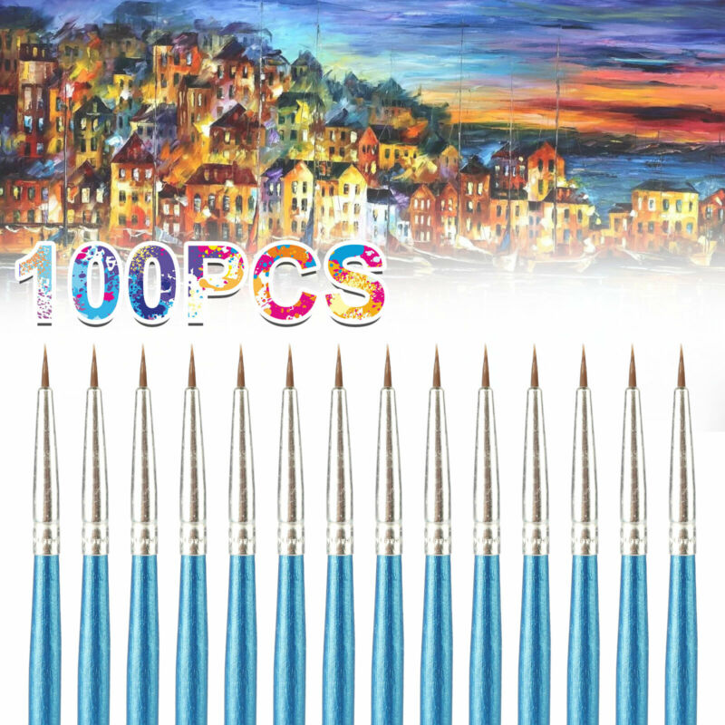 100 Pcs Micro Fine Detail Painting Drawing Brush Kit Art Craft Paint Brushes Set